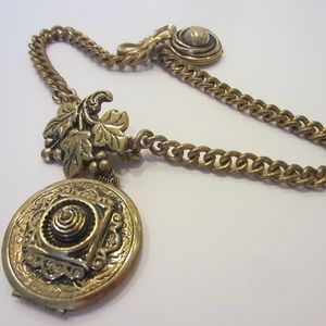 Jewelry - Vintage Brass Locket Clip Grape Brooch Medallions
